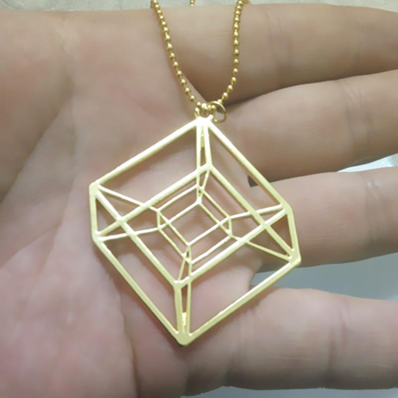 Egy darab Hypercube - arany / ezüstözött geometriai nyaklánc - - Divatékszer - Fénykép 5