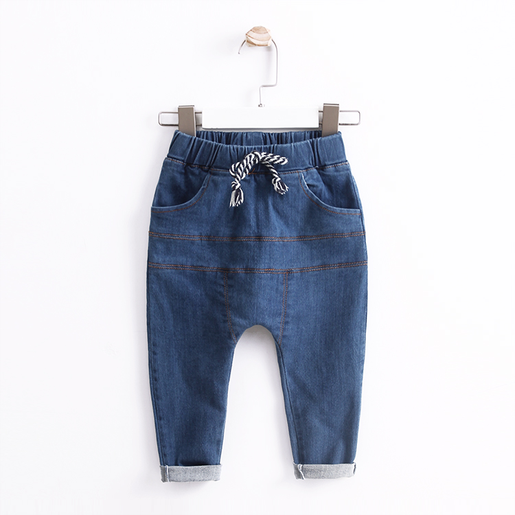 ФОТО Baby spring trousers male child 100% cotton patchwork children's clothing jeans 2017 child casual harem pants