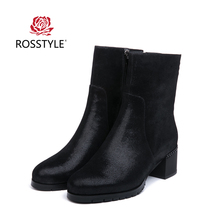 ROSSTYLE Action Genuine Leather Women Ankle Boots Round Toe Zipper Square Heel Female Boot Keep Warm Winter Boots Women Shoes B9 msfair round toe square heel women boot fashion metal zipper med heel ankle boots women shoes winter genuine leather boots women