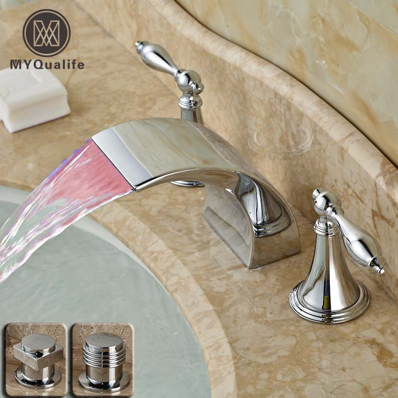 LED Color Changing Waterfall Bathroom Sink Mixer Faucet Dual Handle Basin RGB Light Basin Water Taps Chrome Deck Mounted