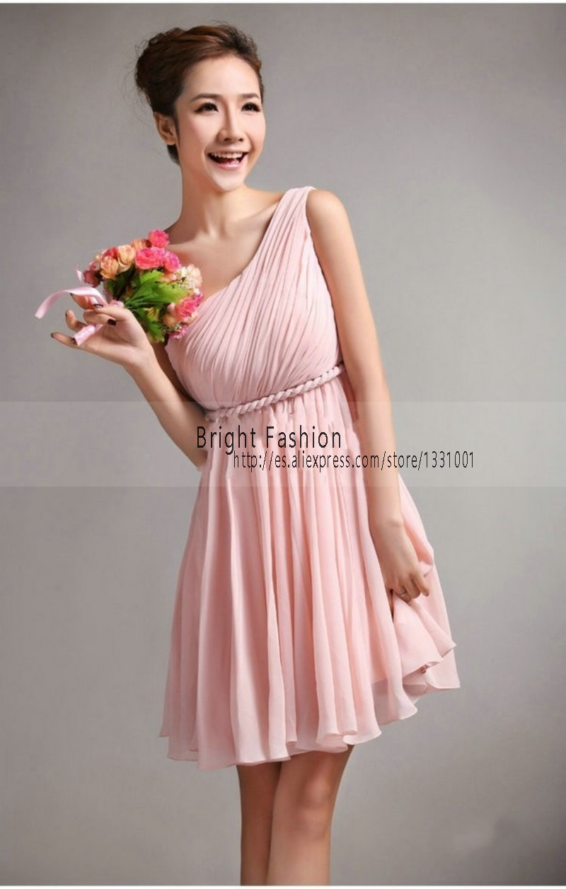 One Shoulder Pink Dress - Qi Dress