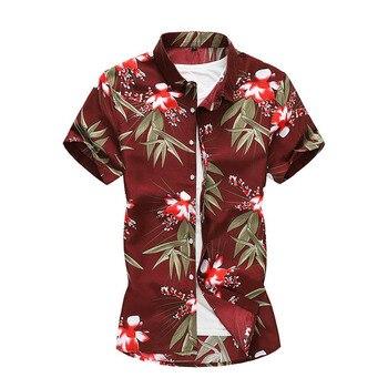 64c5f1de4879e1b 2019 модные новые мужские рубашки летние рубашки с коротким рукавом мужские  праздничные повседневные рубашки Цветочная пляжная гавайская ру.