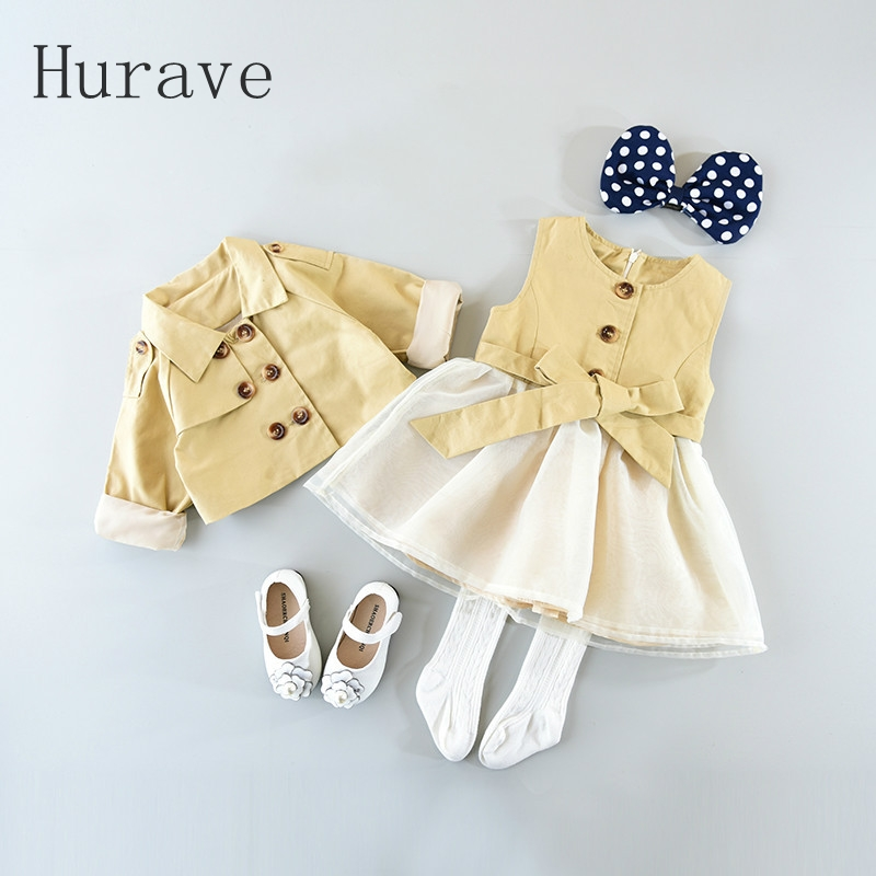 Hurave Casual Trench Dress + Double Breasted Coat New Brand Girl Clothing Sets For Toddler Kids Bow Clothes 2018 Autumn Princess