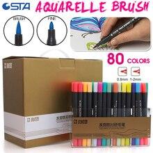 STA 80 Цвета двойной головкой Книги по искусству ist растворимые Цветной Эскиз Маркер Кисточки ручка Набор для рисования Дизайн краски Книги по искусству маркер поставки