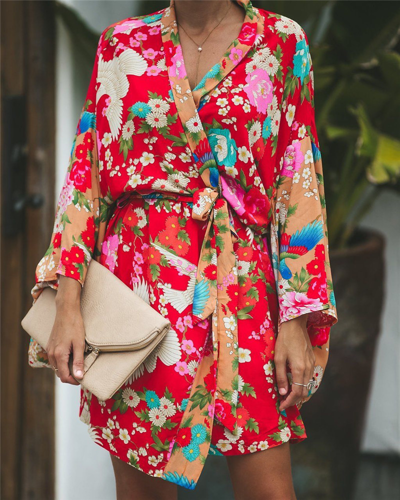 2019 Autumn Summer Women Long Sleeve Bohemian Floral Casual Loose Long Blouse Kimono Long Cardigan Flare Sleeve Print Thin Shirt