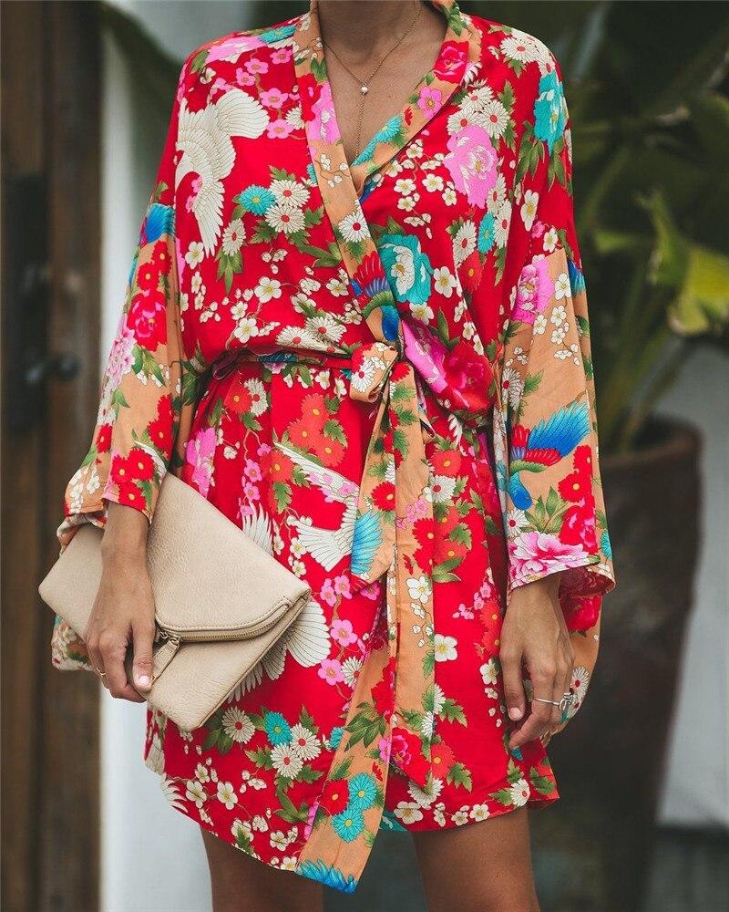 2019 Autumn Summer Women Long Sleeve Bohemian Floral Casual Loose Long   Blouse   Kimono Long Cardigan Flare Sleeve Print Thin   Shirt