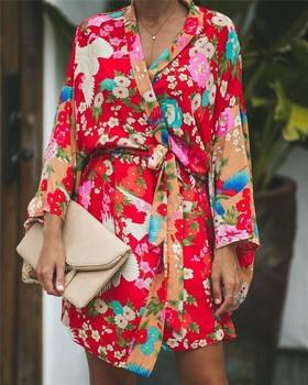 2020 Autumn Summer Women Long Sleeve Bohemian Floral Casual Loose Long Blouse Kimono Long Cardigan Flare Sleeve Print Thin Shirt floral print loose fit kimono