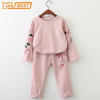 3 7Yrs Baby Girls Clothing Sets New 2018 Children Clothing Sets Brand Kids Clothing Flowers Embroidered