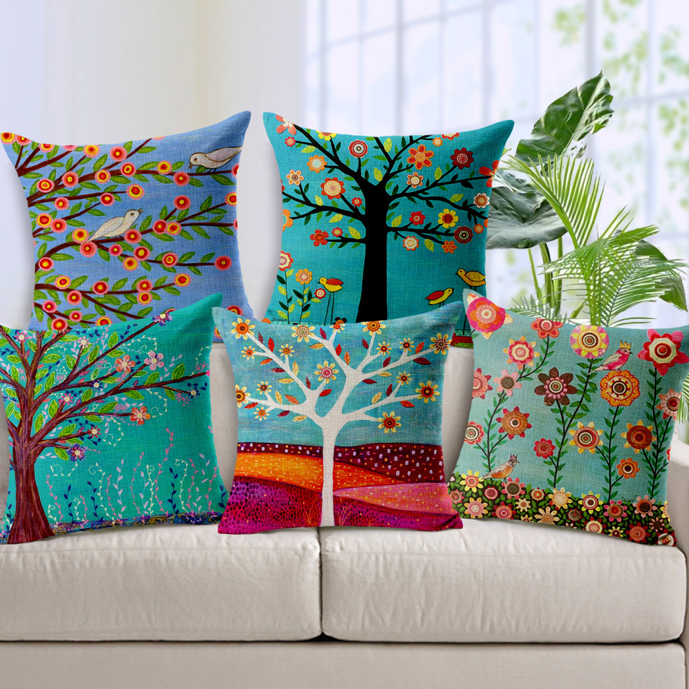 Online get cheap painting flower tree birds pillow cover oil painting pastoral flowers trees birds cushions pillows covers bird tree cushion cover decorative linen cotton dhlflorist Image collections