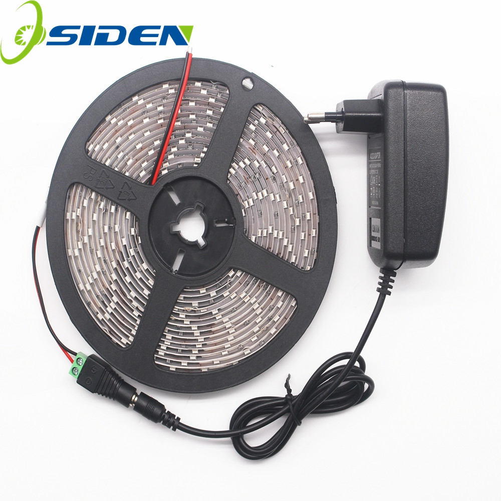 OSIDEN 5M 60Pcs / M LED Strip lys 5630 IP20 IP65 SMD + Strømadapter Mere lysere 3528 2835 Ribbon String Dekorativ lampe Tape