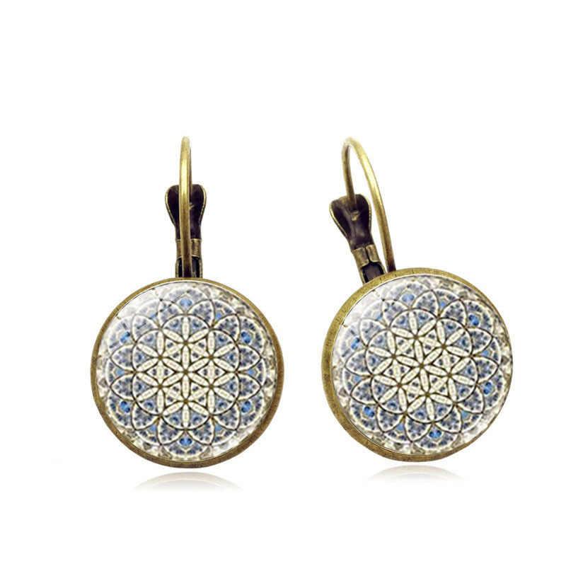 2018 nuevos estilos de Bohemia girasol pendientes tipo gota de Gema plata Vintage europea/bronce vidrio piedras semipreciosas cabujón de vidrio