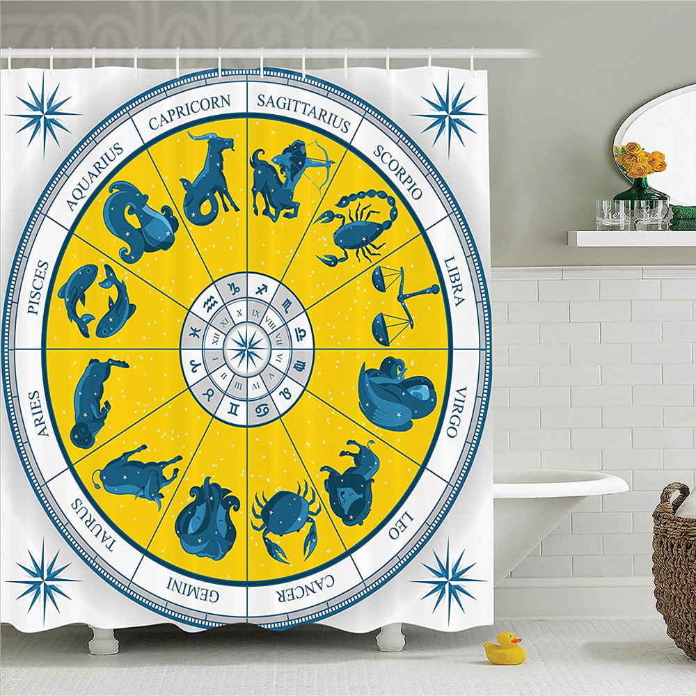 Astrology Decorations Shower Curtain Set Modern Original Zodiac Natal Chart With Colorful Symbols Esoteric Design Print Bathroom ...
