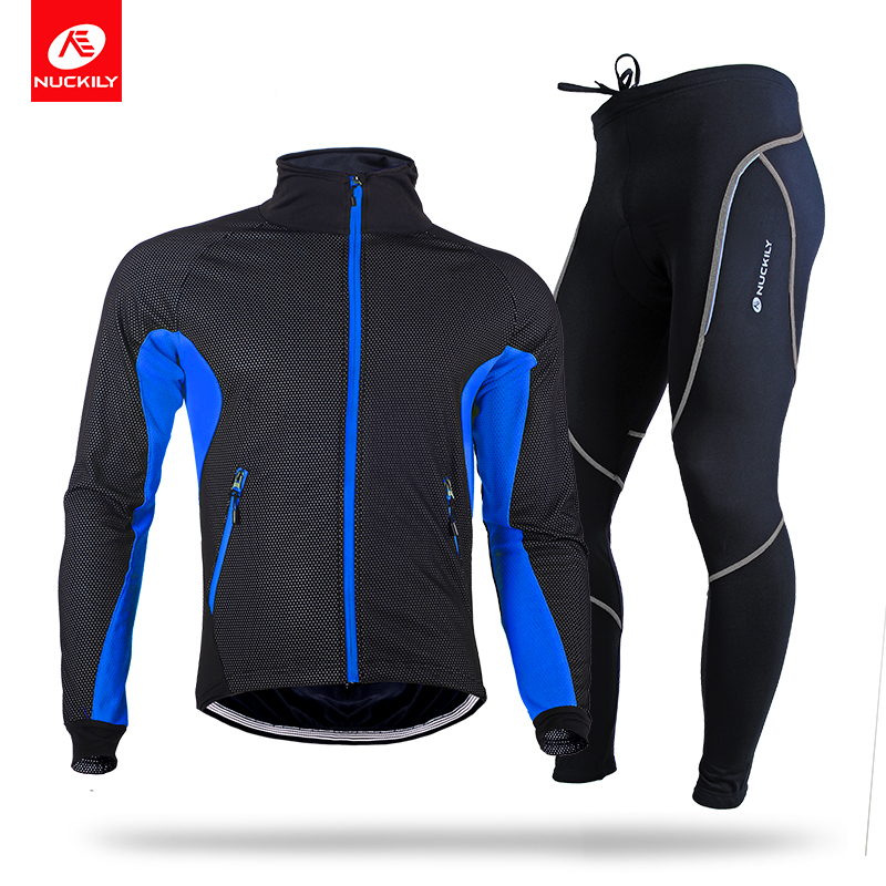 NUCKILY Men's Winter Cycling Suit Windproof Bicycle Jersey And Gel Pad Road Bike Tights Thermal Cycle Clothing MI004NS903 цены