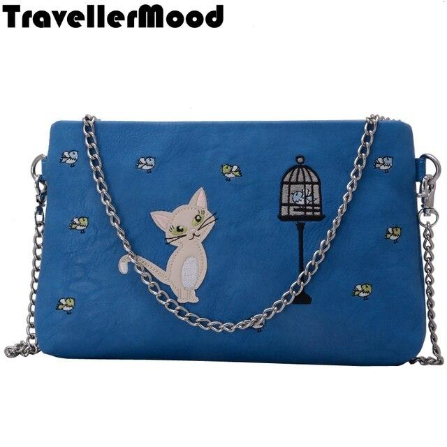 Женщины сумку кожа PU мультфильм вышивка сумочка сеть женщины сумка почтальона сумочки TravellerMood