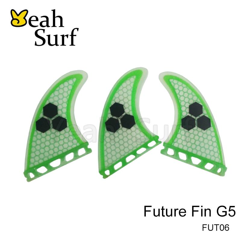 Surf Finder Quilhas Future Fin G5 Lysegrøn Honeycomb Fiberglass Finne Surfboards Fin Surfing M Størrelse 3 stk. Pr. Sæt