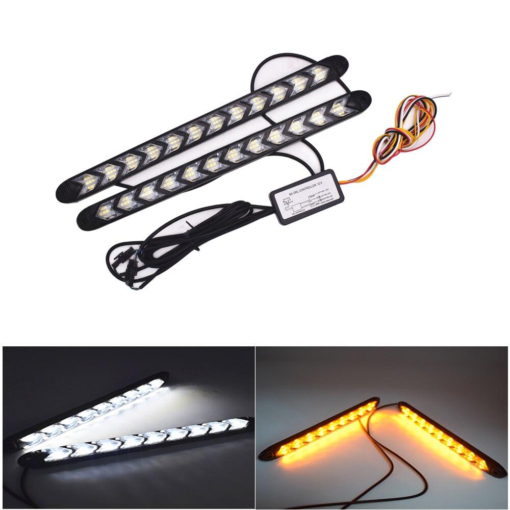 1Set/2pcs Car Flexible DRL Turn Signal Waterproof Lights White/Amber LED Arrow Styling Knight Strip Light Flasher Flowing 12V DC