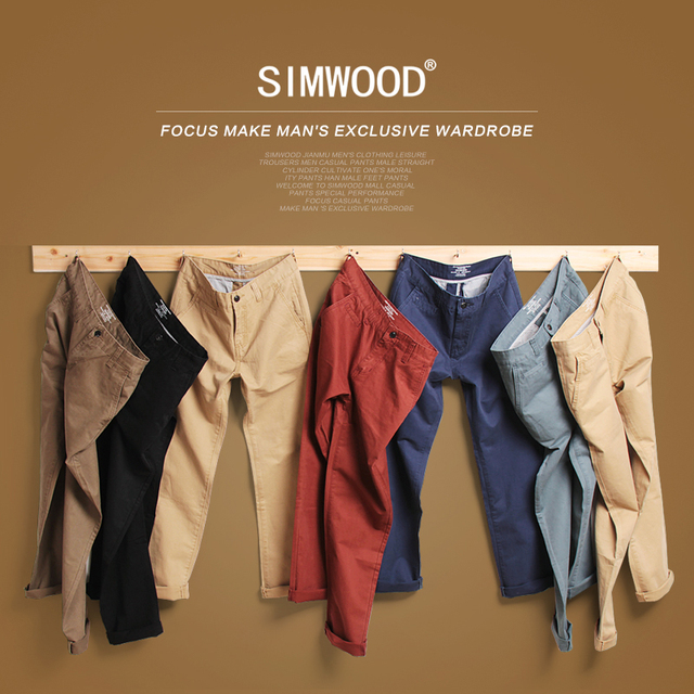 Simwood Brand Spring Winter New Fashion 2019 Slim Straight Men Casual Pants 100% Pure Cotton Man Trousers Plus Size  KX6033