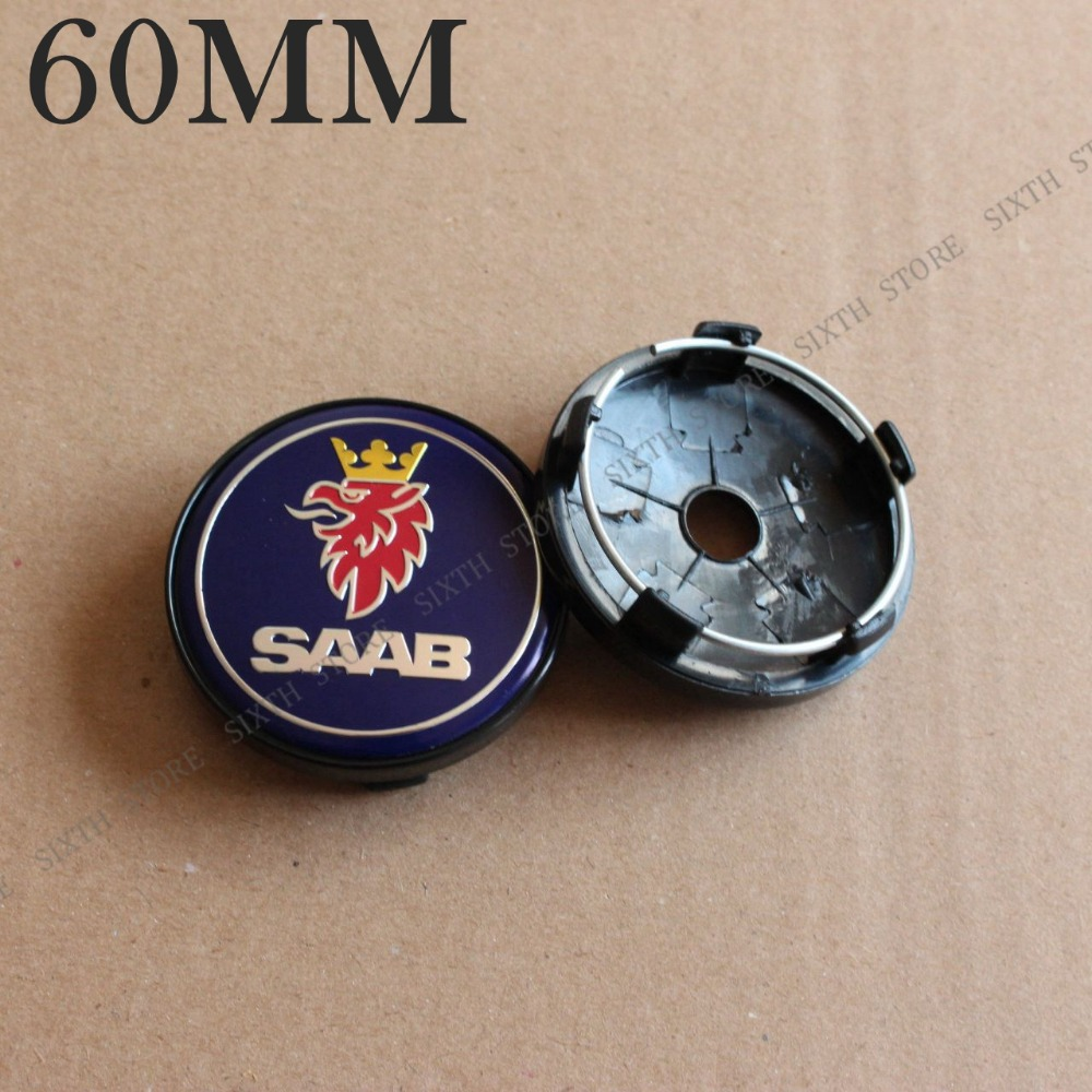 KOM POWER 60MM Wheel Cover Caps Car Hub SAAB Emblem Sticker Center Cap Wheels Saab Rims - SIXTH store