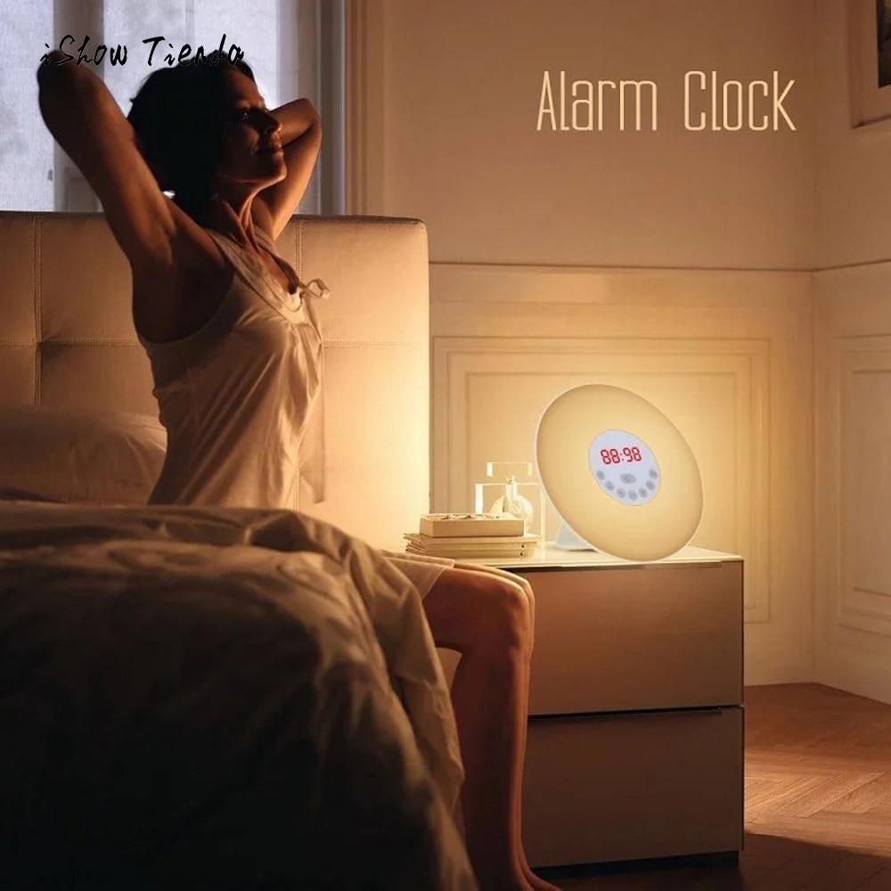 2018 New FM Radio Digital Alarm Clock Wake Light With Sunrise Simulation Alarm Clock And Sunset Simulation Sleep Light Touch