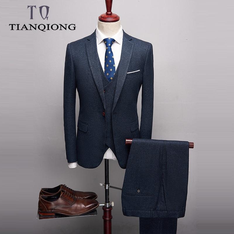 Mens Suits Designers 2019 Slim Fit Groom Wedding Suit Latest Blue Business Suit High Quality 3 Piece Formal Wear Plus-size S-4XL