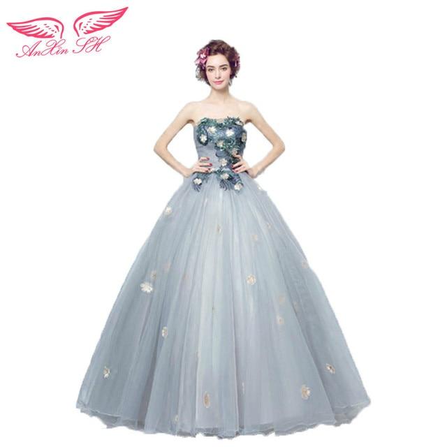 Anxin SH gris sujetador princesa novia vestido de fiesta flores ...