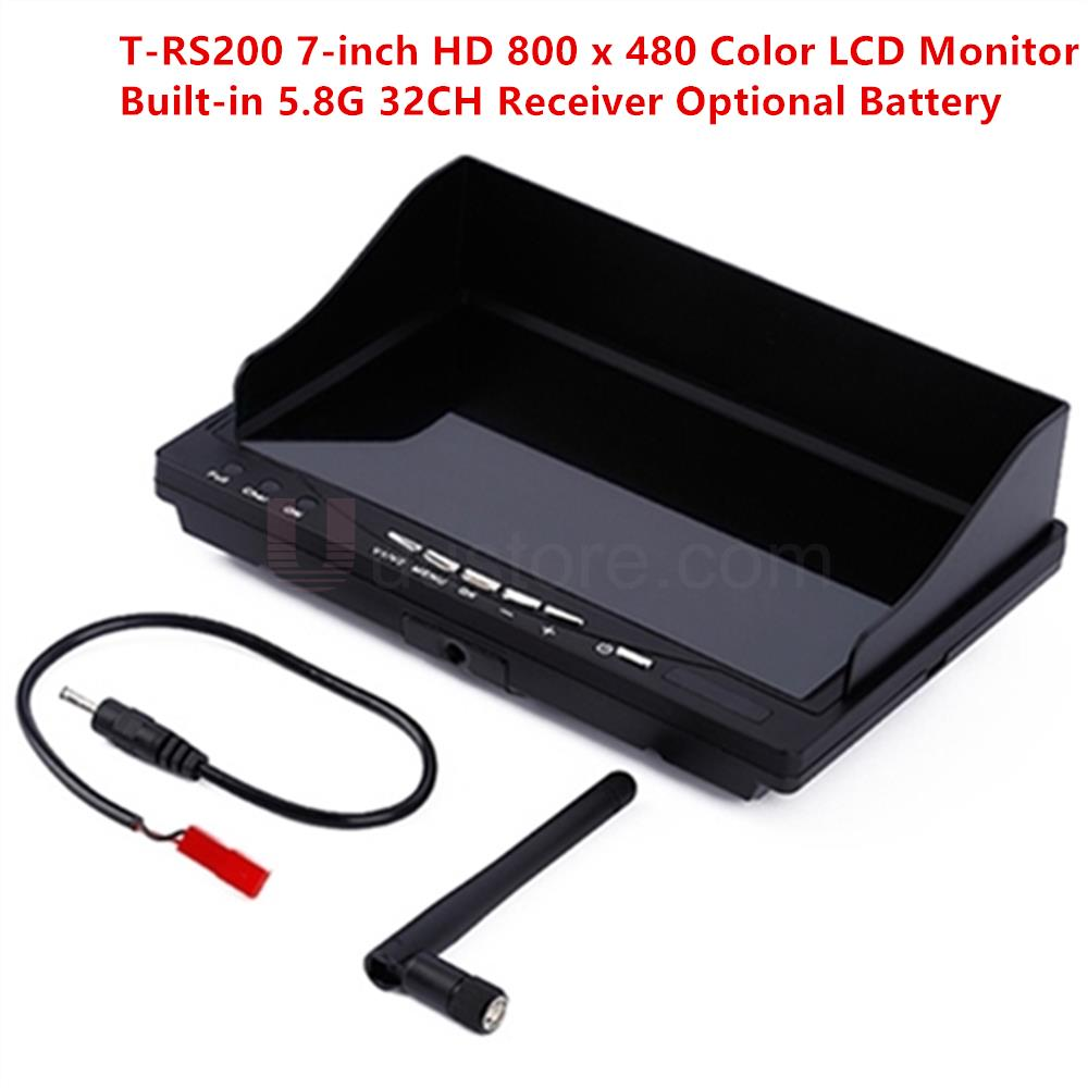 T-RS200 7inch HD 800 x 480 400cd/m2 Color LCD Monitor Built-in 5.8G 32CH Receiver Optional Battery For QAV250 ZMR250