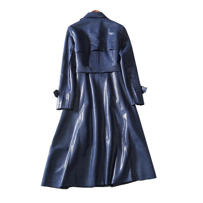 Mode Rabattu Longues Décontracté Solide Pleine Femmes 4xl Et L Nouvelle Tranchée Samgpilee 2018 Hiver Blue Automne Manches Col Tricoté Ceinture Mince 6qZxPXz