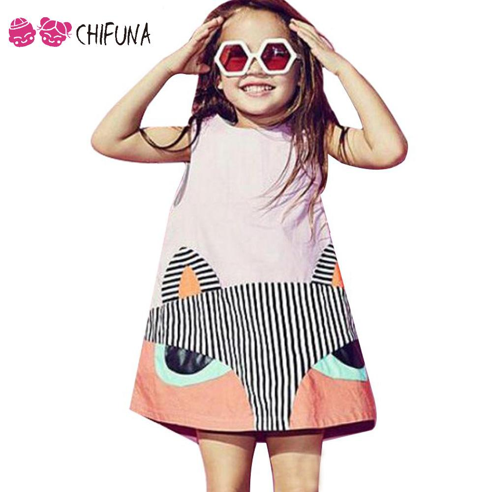 New Fashion Summer Style Girls Dress Patchwork Cute Fox Print Sleevesless 2016 Good Quality