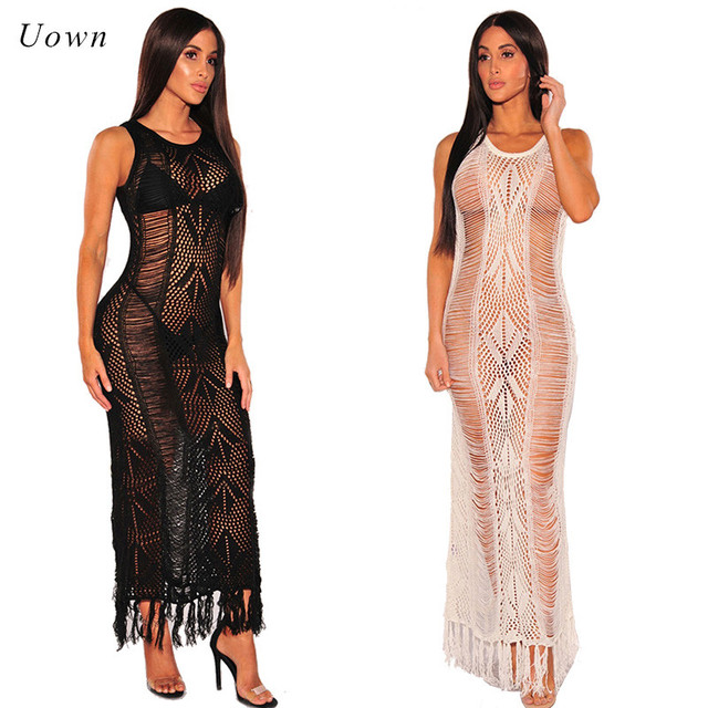 f1e368386252 Women Sexy Black White Crochet Beach Dress Hollow out Fringe Tassel Hem  Summer Boho Beachwear Long