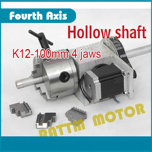 4 jaw K12 100mm chuck Hollow shaft 4th Axis dividing head 6:1 Rotation Axis / A axis kit for Mini CNC router engraving machine