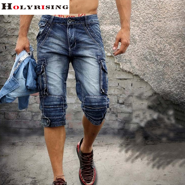 men cargo shorts bermuda homme male fashion shorts Washed denim short men jeans shorts homme 2