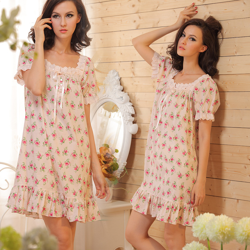 RenYvtil Ladies Cotton Nightgown Sleepwear Fashion Small Flower Women Nightgowns Printed,Hot Sale Nightwear For Summer,Autumn