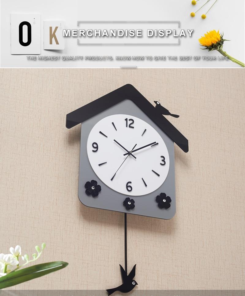 Rock n Roll Wall Clock Retro Room Clock Cloock Nordic Clock Wood Wall Clock Mickey Kitchen Big Clock Wall Mirror Wall Clock Watch (8)