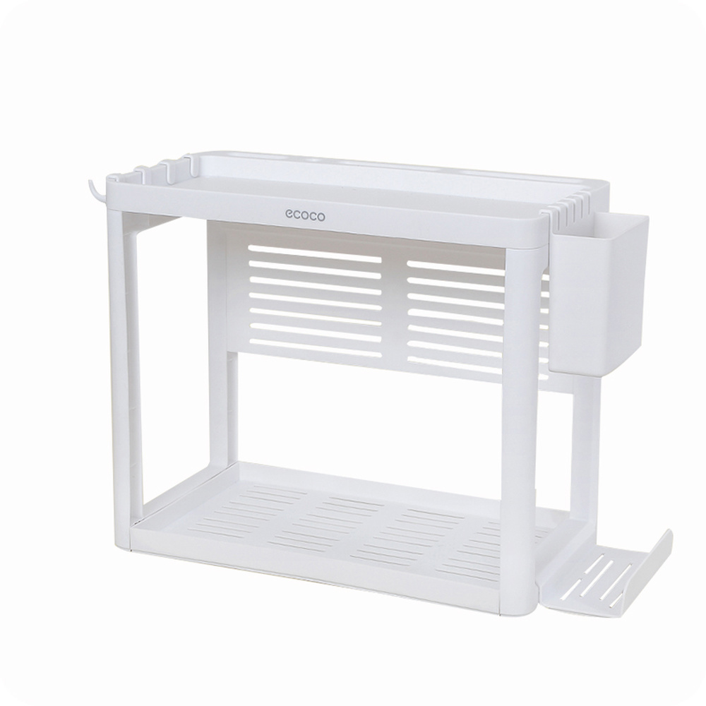 Kitchen double layer rack multi-function floor finishing storage rack Plastic countertop seasoning shelf wx7191744 double celebration of finishing the cracks movable side refrigerator kitchen corner shelf plastic three shelves 1064