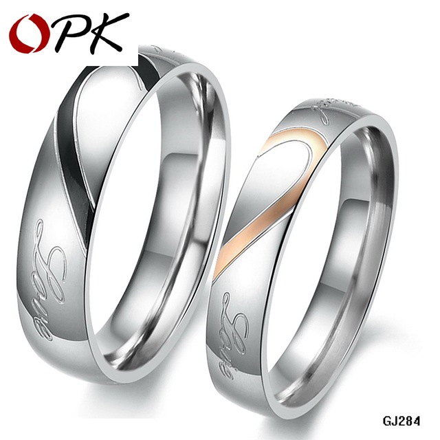 316L Stainless Steel Silver Half Heart Simple Circle Real Love Couple Ring