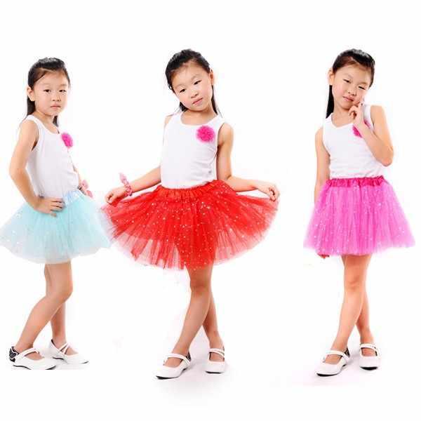 AZULARILLOJO Kids Baby Star Glitter falda tutú de baile para niña lentejuelas 3 capas tul niño pequeño pettiskirt niños gasa 2-8T