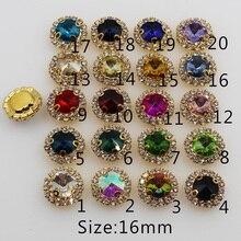 Новый 10 шт. 16 мм круглый 4-отверстия золотистые металлические пуговицы Diamante горный хрусталь кнопки DIY Для Свадебные украшения пуговицы для шитья одежды