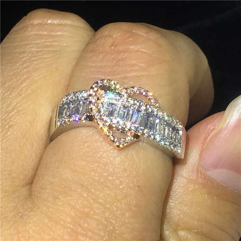 Anillo de compromiso de amor de corazón choucong, Plata de Ley 925 AAAAA cz, anillos de compromiso de boda para mujer, joyería de aniversario de madre