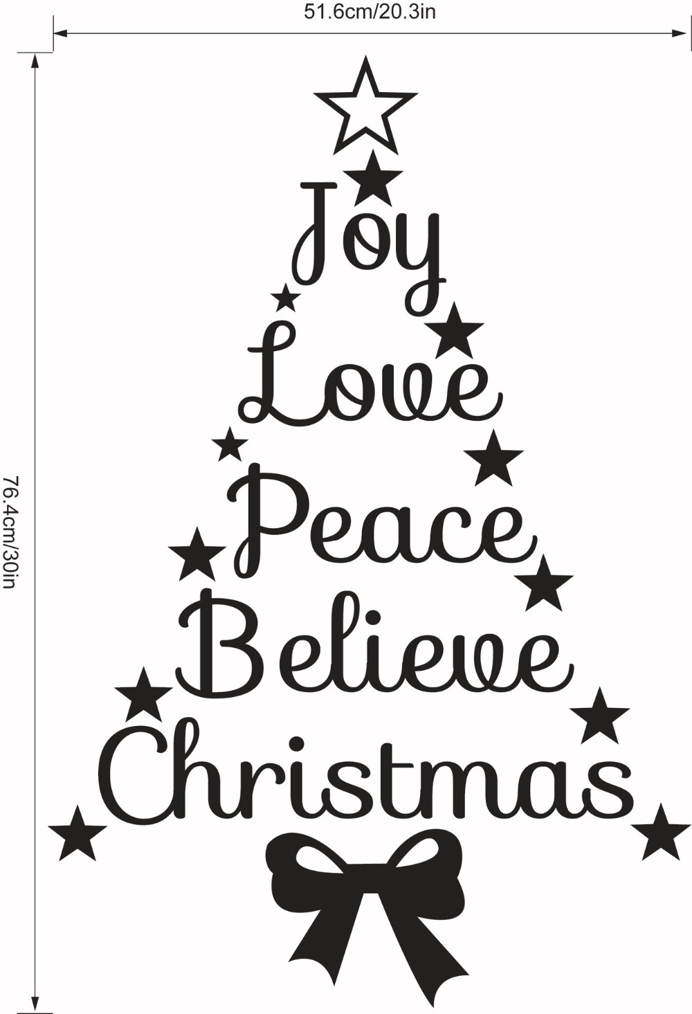 Joy Love Peace Believe Christmas Quotes Stars Wall Decal Merry Christmas  Tree Wall Sticker Vinyl Murals Living Room Wall Art M31 In Wall Stickers  From Home ...