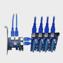 PCI-EX1 к PCI-EX16 карты расширения 4 Порты USB 3.0 Конвертер Adatper Райзер карты для Bitcoin интеллектуального устройства EM88