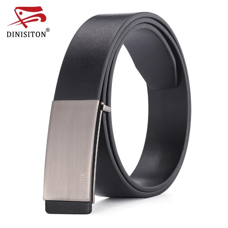 Cinturones DINISITON 100% de cuero genuino de piel de vaca para hombres Correa masculina Hebilla lisa jeans vaqueros vaqueros casuales diseñador de la marca de fábrica cinturón