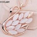 VIVILADY Moda Semi preciosa Pedra Strass Cristal Cisne Colar de Pingente de Jóias Mulheres Traje Acessório Presentes de Natal