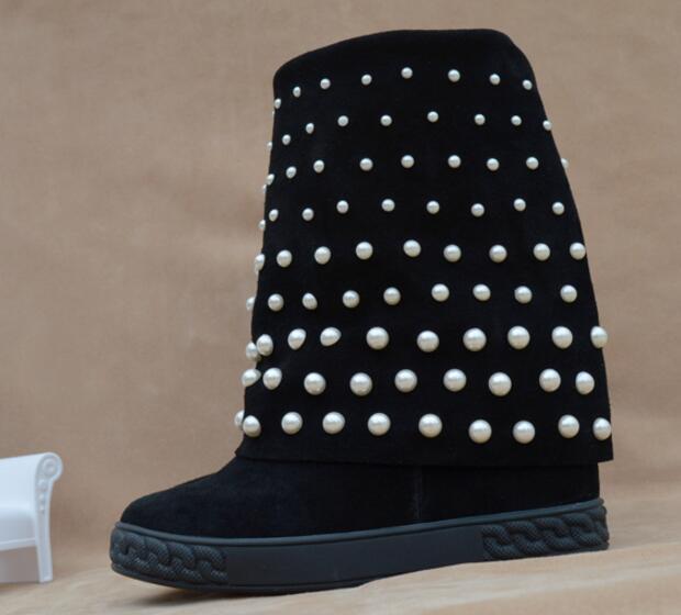 Invierno Beige Otoño Aumento En black Altura 8 Perlas Cuña Blanco Suede De negro Tachonado Antideslizante Botas Moda Cm Mujeres Beige Z80OZr