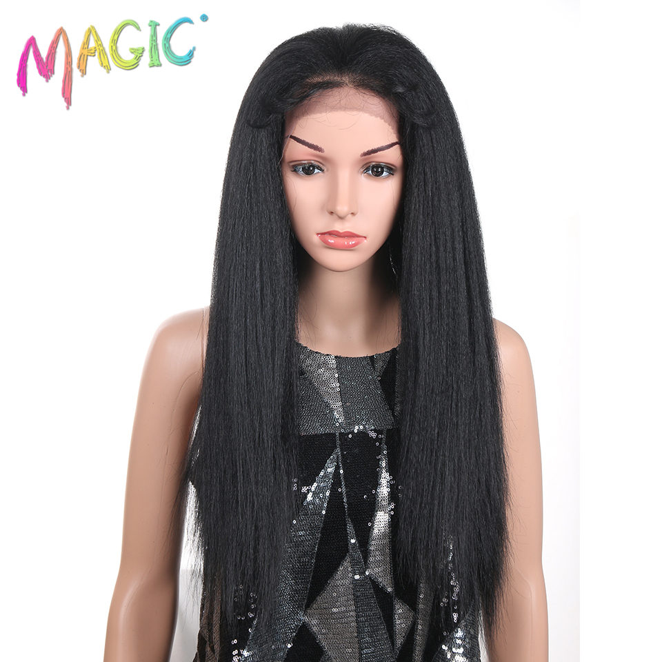 M 26 Inch Synthetic Lace Front Wigs For Black Women Heat Resistant Yaki Straight Black Fiber Hair Swiss Lace 150% Density