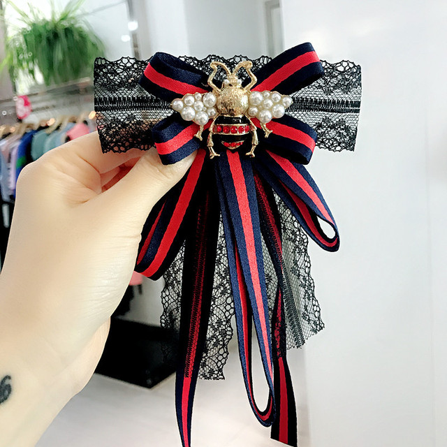 Korea Handmade Classic Lace Striped Bow knot Rhinestone Bee Neck bow tie  Adult women Brooches Fashion Jewelry-YHNB002C 9ab761cfc465