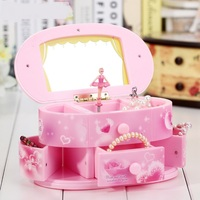 Dancing Ballerina Storage Jewelry Box Pink Music Boxes Cosmetic Mirror Ornaments Mechanism Musical Box For Wedding Kids Gift