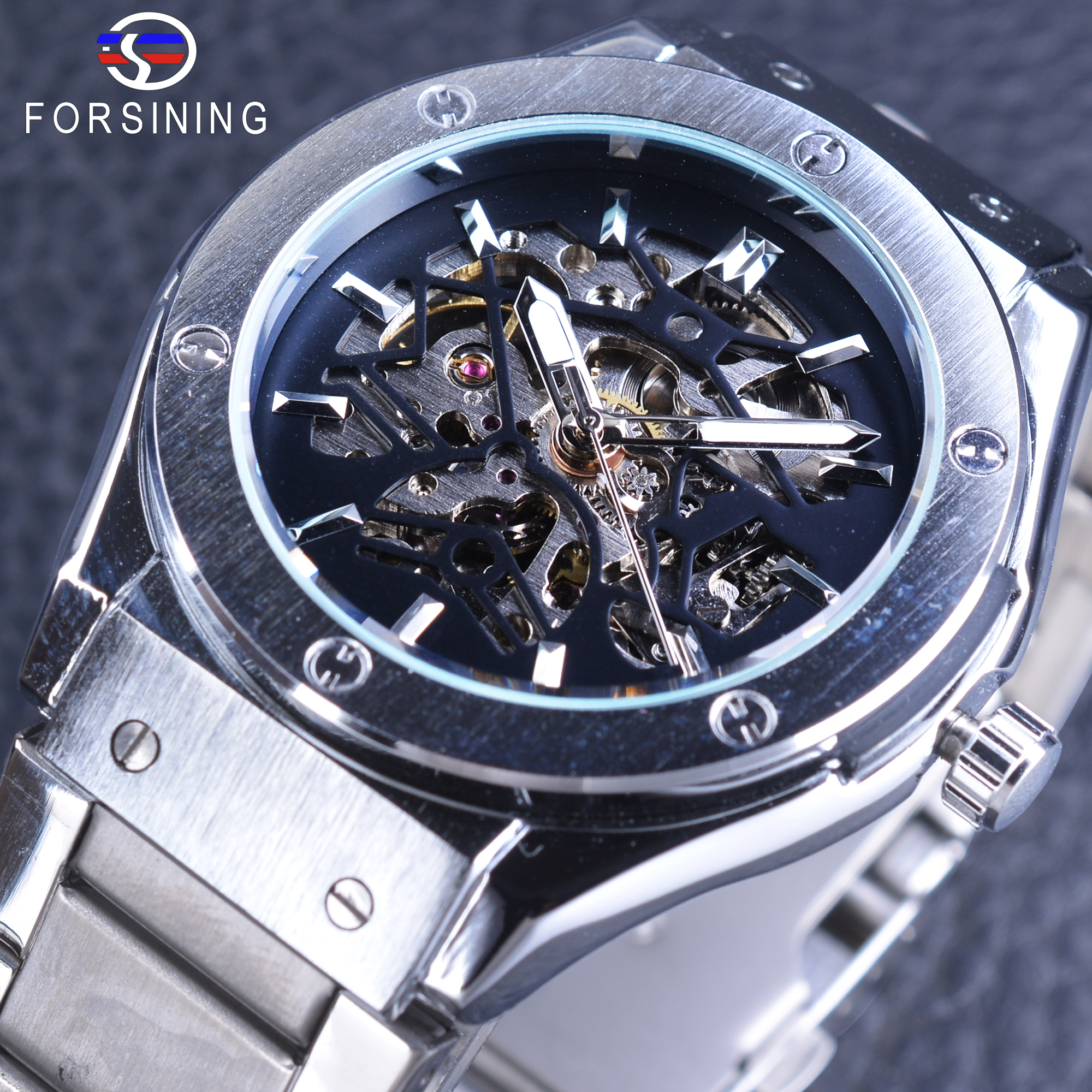 Forsining Steampunk Sport Watches Silver Stainless Steel Metal Bracelet Clasp Men's Mechanical Wristwatch Skeleton Watches Clock forsining golden stainless steel sport watch steampunk men watch luminous openwork mechanical watches folding clasp with safety