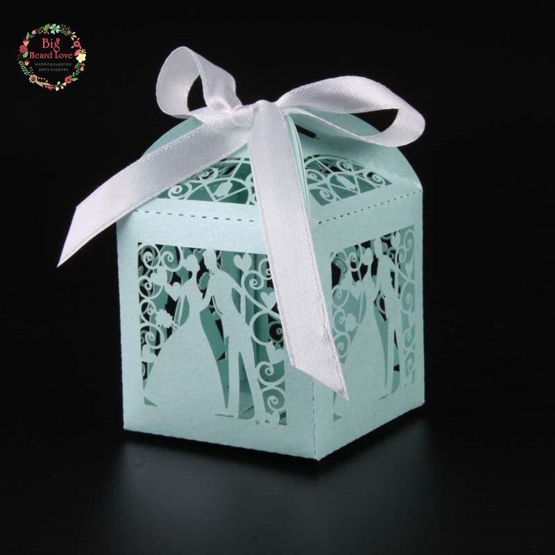 Big Heard Love 50 шт. лазерная резка невесты и жениха Свадебная коробочка для сладостей Подарочная коробка свадебное оформление коробки вечерние поставки - Цвет: Tiffany blue