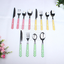 0 Knife fork spoon 4 three-color kit stainless steel tableware