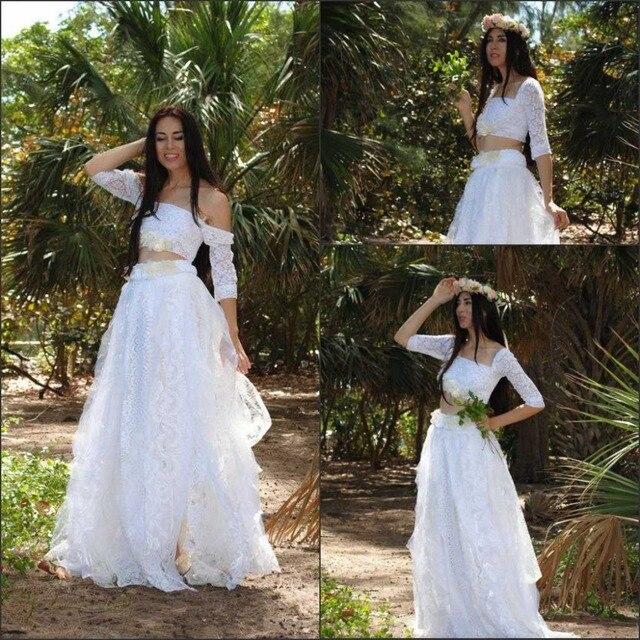 de dos piezas vestidos del vestido de boda de boho de manga larga